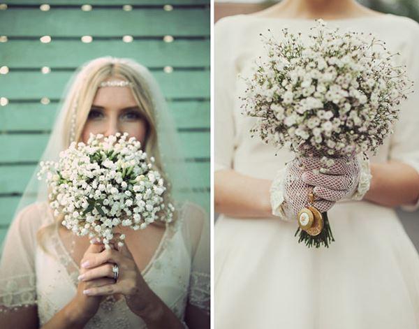 hoa baby cầm tay cô dâu